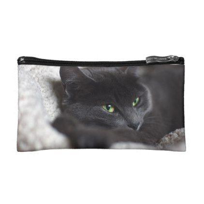 #Russian Blue Kitty Cat Makeup Bag - #Petgifts #Pet #Gifts #giftideas #giftidea #petlovers
