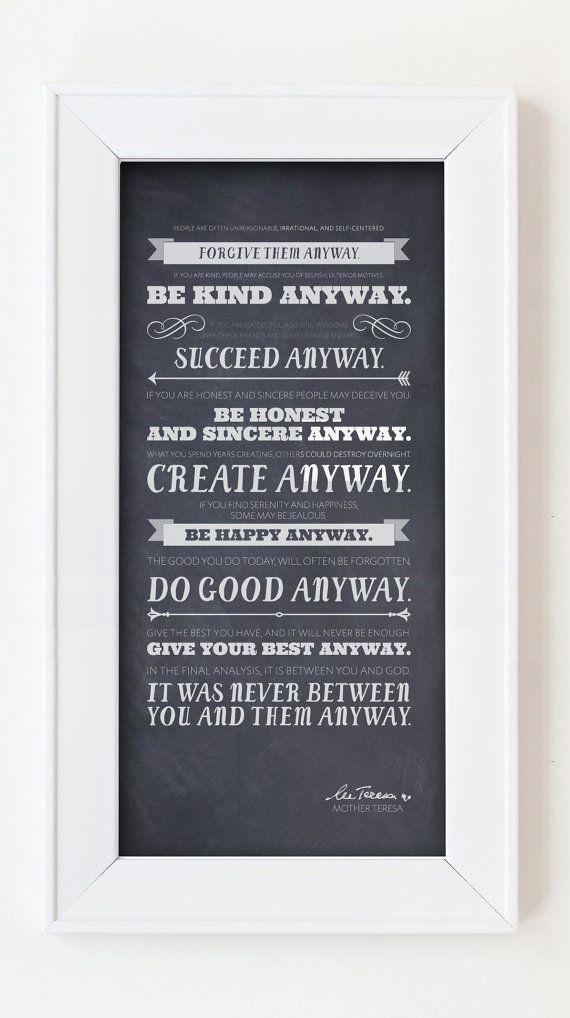 Mother Teresa Quote - Print 10x20 (Chalk) on Etsy, $24.00