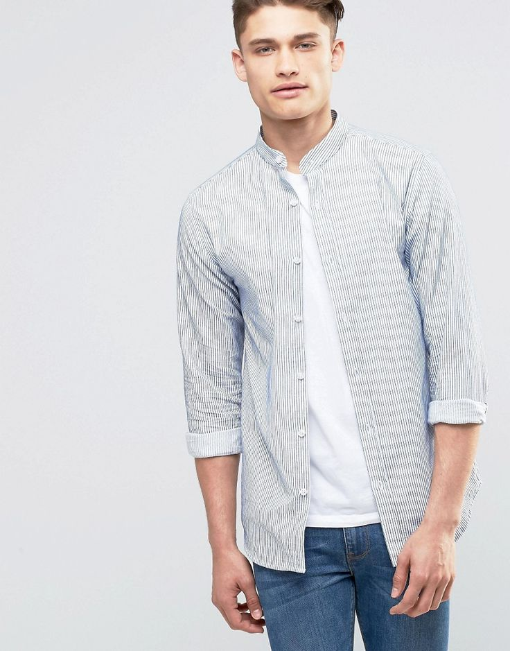 Shop Selected Homme Shirt with Grandad Collar and Fine Stripe at ASOS.