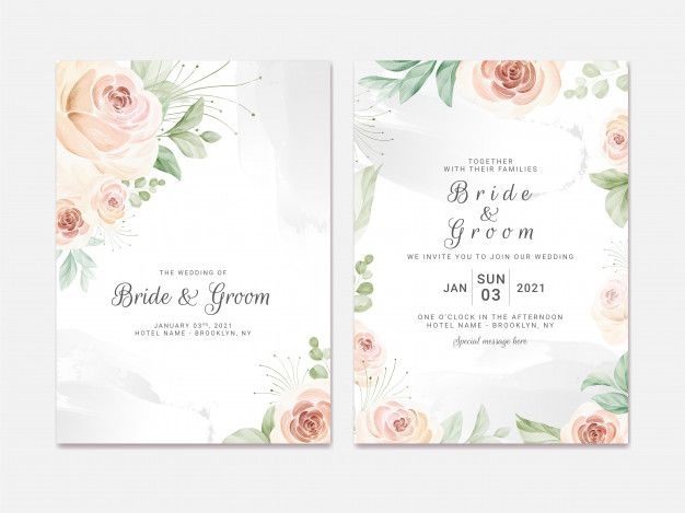 Wedding Invitation Template Set With Soft Watercolor Roses And Eucalyptus Botanic Illustration For Card Composition Design In 2021 Wedding Invitation Templates Floral Wedding Invitation Card Elegant Wedding Invitation Card
