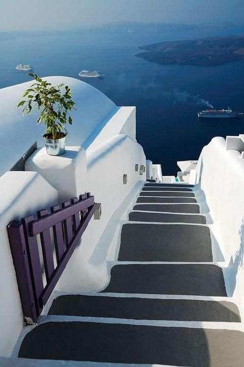Stairs to the Sea in Santorini, Greece