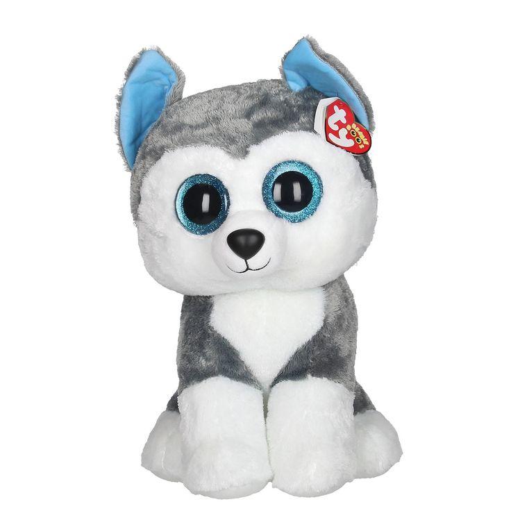 Ty Beanie Boo XL pluchen knuffel genaamd Slush. Deze schattige husky heeft een zachte grijs/witte vacht en lichtblauwe oortjes. Hij heeft mat zwart neusje en je ziet een blauwe glinstering in zijn grote kraalogen. Slush is extra groot waardoor je er heerlijk mee kunt knuffelen. Door de stevige vulling blijft de Ty Beanie Boo ook los gemakkelijk rechtop zitten. Afmeting: lengte 42 cm - Ty Beanie Boo XL Husky - Slush, 42 cm