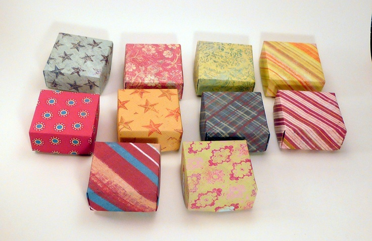 Set of 10 Small Gift Boxes, Jewelry Box, Origami  Box, Favor Box, Hand Made Box, Colorful Box. $5.00, via Etsy.