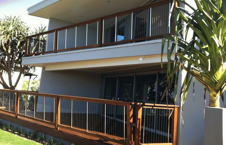 Timber Rail and Vertical Steel Cable Fencing - Hastings Point, NSW