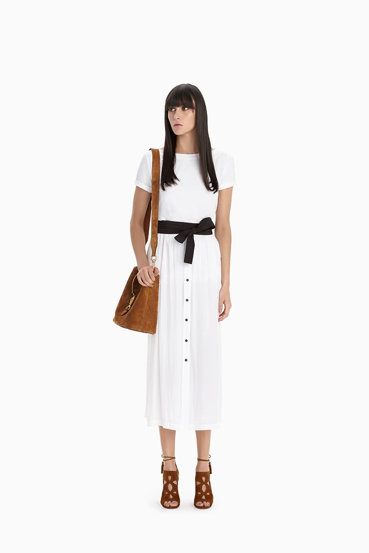 White Slice Top + White Ranch Skirt + Black Obi Belt