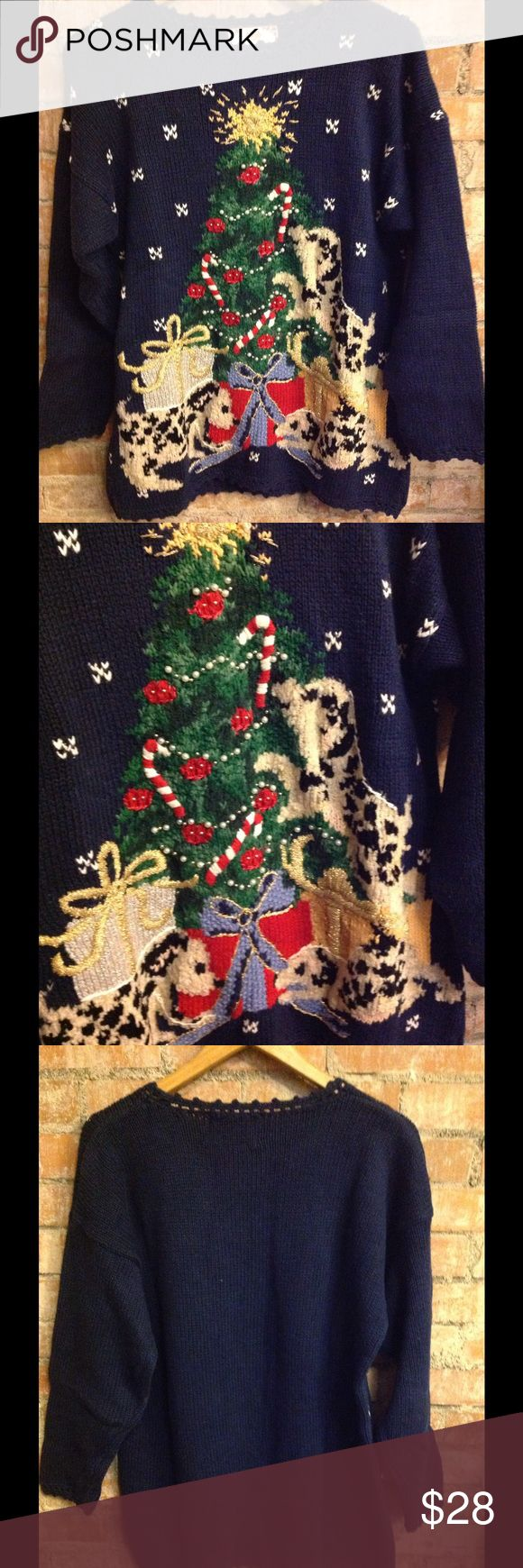 Vintage Navy Dog Christmas Sweater Adorable sweater! Excellent vintage condition! Tiara International Sweaters