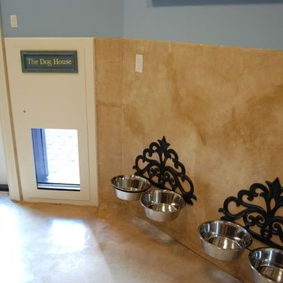 Wall Mounted Dog bowls near the doggy door <3 this - no need to move the bowls to quickly sweep up the mess