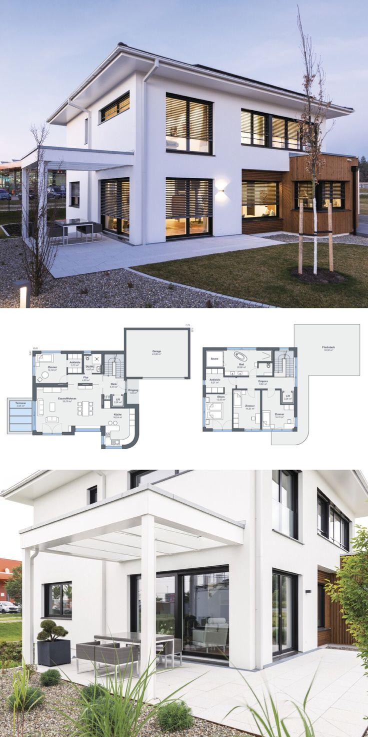Stadtvilla Neubau modern mit Garage, Pergola & Walmdach Architektur – Haus bauen…