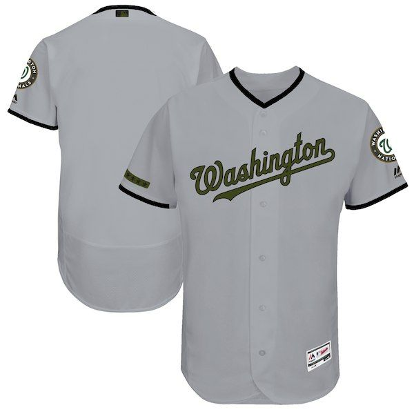a44f49a8 Men's Washington Nationals Majestic Gray 2017 Memorial Day Authentic  Collection Flex Base Team Jersey