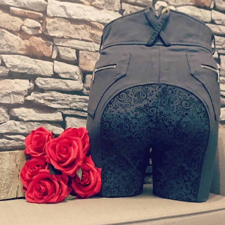 Stunning dark grey full seat floral print silicone breeches for ladies | Chillout Horsewear brand | Comfy, stretchy and flattering | High waist | Lycra ankles | Available now at Lofthouse Equestrian | RRP: £79.99