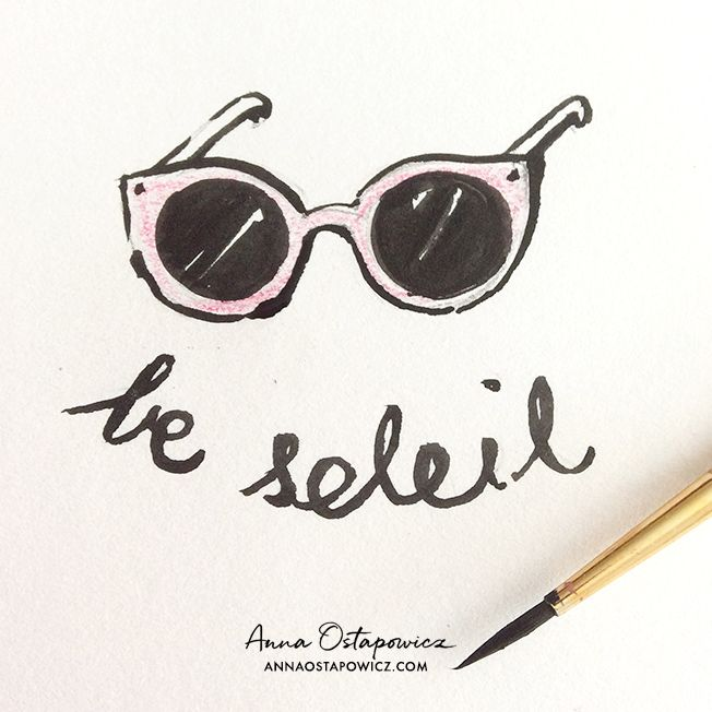 Le soleil, Illustration Anna Ostapowicz, #french, #word, #typography, #drawing, #sun, #summer
