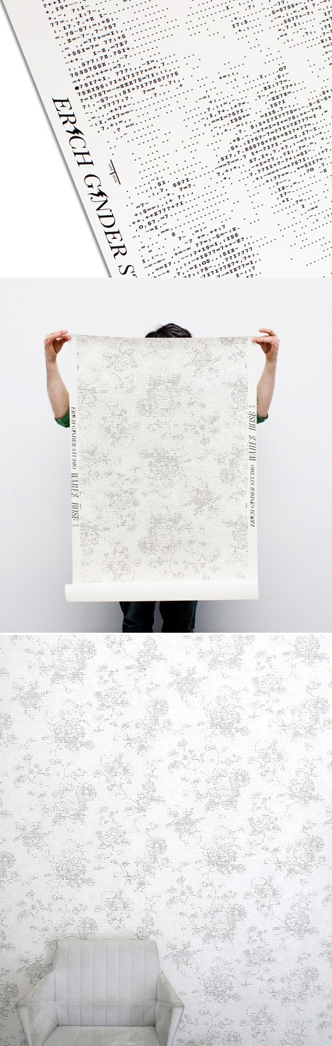 Love this wallpaper for an office. Erich Ginder designed wallpaper with a floral motif using ASCII symbols.