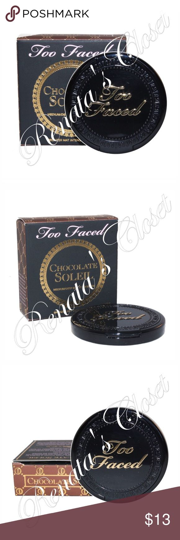 Too Faced Chocolate Soleil Matte Bronzer The ultimate shimmer-free, matte bronze perfect for creating an all-over deep tan using real antioxidant-rich cocoa powder. It's all the tan w/o the twinkle.  * UPC # 651986973095 * shade - MEDIUM TO DEEP * net wt - 2.5 g/0.08 oz (travel size) * top-rated item at sephora.com * brand new/unopened for protection w/ original packaging * stock photo provided for further reference * watermarked photos are of the actual item * smoke-free home * videotaped…