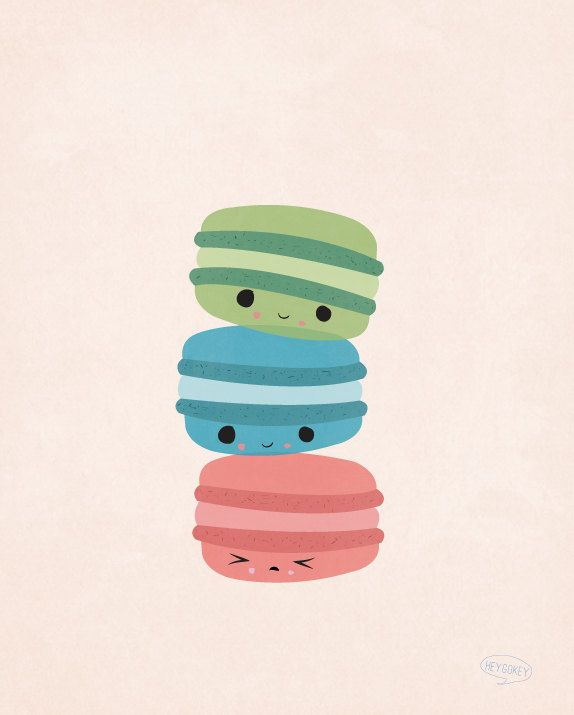Kawaii Macaroon Cookies Illustration Kitchen Wall Art por heygokey. , via Etsy.