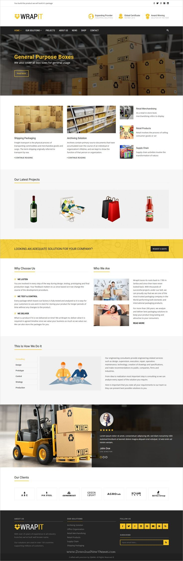 WrapIt is clean and modern design 6in1 responsive #WordPress theme for #packaging and #shipping company website download now..