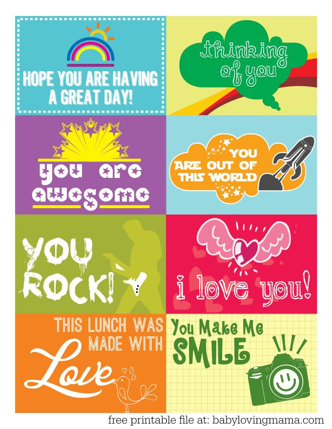 Lunchbox Notes Free Printable #freeprintable