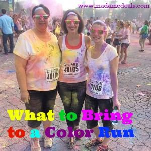 Tips on what to bring to a color run