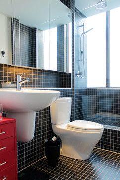 Black, white and gold brighten a fun, contemporary Montreal loft contemporary-bathroom