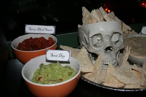 selection of dips with creepy names such as 'swamp dregs' (guacamole), 'intestines' (salsa) and 'cream of bat brains' (houmous).