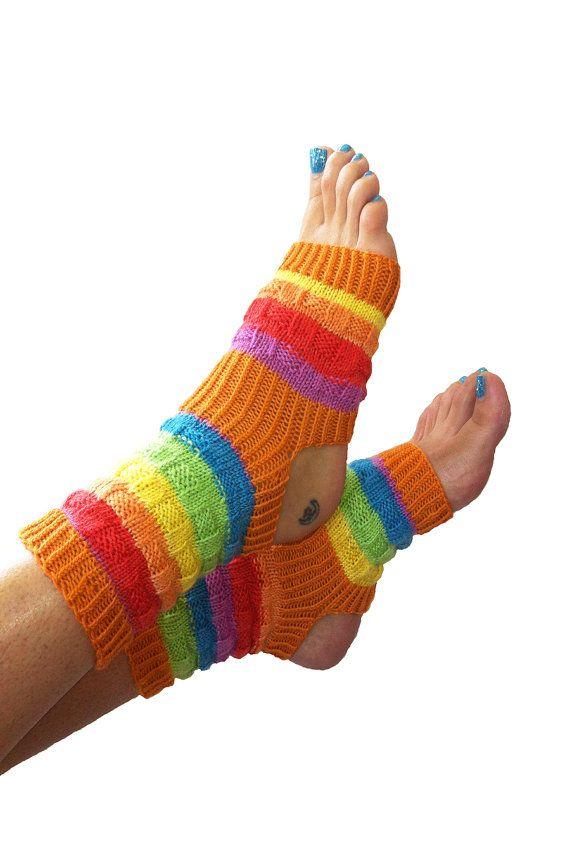 Yoga Socks-Hand Knit Orange Yoga Socks-Pilates-PiYo-Dance Socks-Pedicure Socks-Orange-Red-Green-Yellow-Unique Original Design MADE TO ORDER