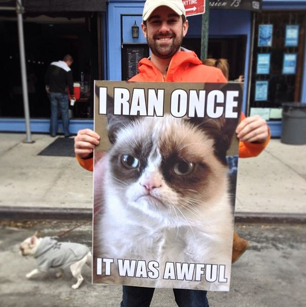 Grumpy cat confession. /  The 35 Best Signs From The NYC Marathon (via BuzzFeed)
