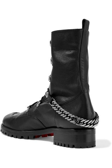 Christian Louboutin - Chain-trimmed Leather Boots - Black - IT40