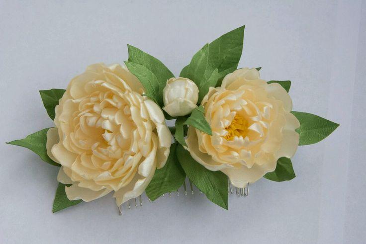 Купить Гребень с цветами - гребень с цветами, гребень в прическу, цветы ручной работы