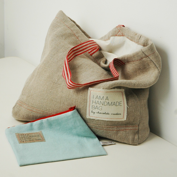 Natural linen tote bags and purses at www.chocolatecreative.co.uk