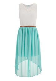 belted lace top high low dress #streetstyle