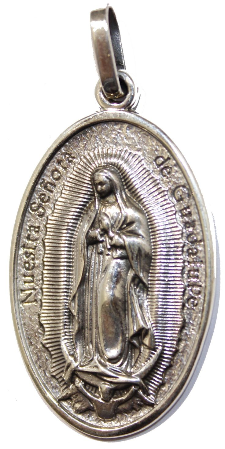Virgen de Guadalupe Pray for Us .925 Sterling Silver Pendant Taxco Mexico - Pray for Us Pendant