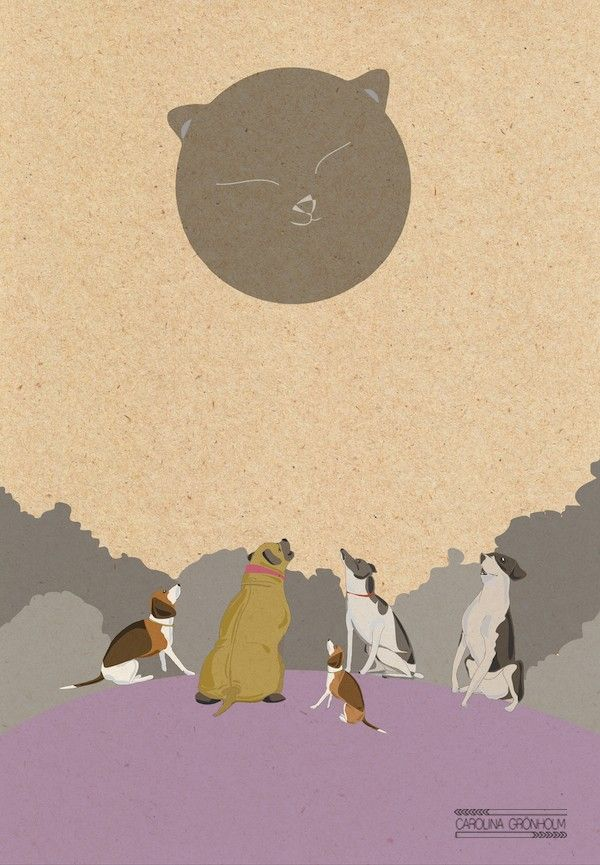 Party Under The Cat Moon, poster by Carolina Grönholm - Illustration & Design #nordicdesigncollective #katt #katten #cat #thecat #cuttingboard #animal #meow #kitten #pet #fur #cosy #carolinagronholm #illustration #poster #print #catmoon #dog #dogs #catanddogs #moon