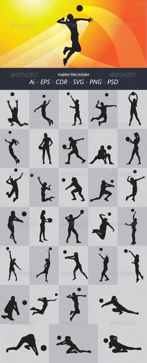 Volleyball Silhouettes #GraphicRiver Nice and detail vector. In this files include AI and EPS versions. You can open it with Adobe Illustrator CS and other vector supporting applications. I hope you like my design, thanks Graphics Files Included