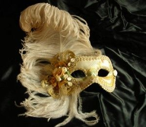 Valentina MT18 - Hand-made papier-mâché mask decorated with fabric, velvet,  brocade fabric, Swarovski and plume.
