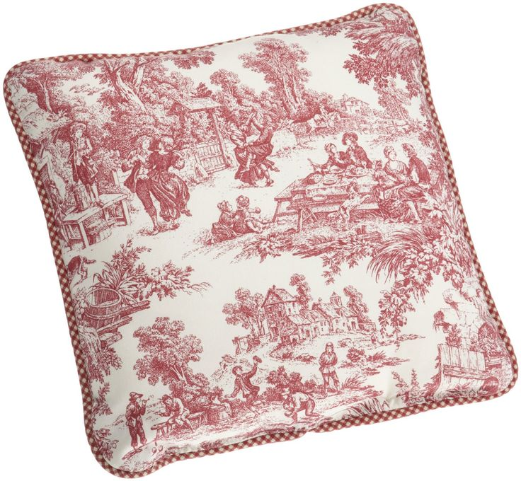 Amazon.com - Victoria Park Toile Logan Gingham Check Reversible Toss Pillow, Red - Throw Pillows ...