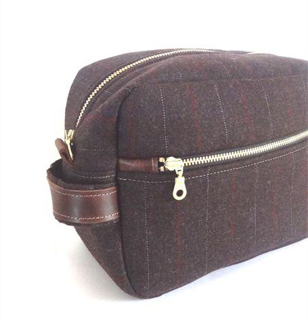 Men's Toiletry Case // Dopp Kit // Travel Toiletry Bag in Dark Chocolate Wool