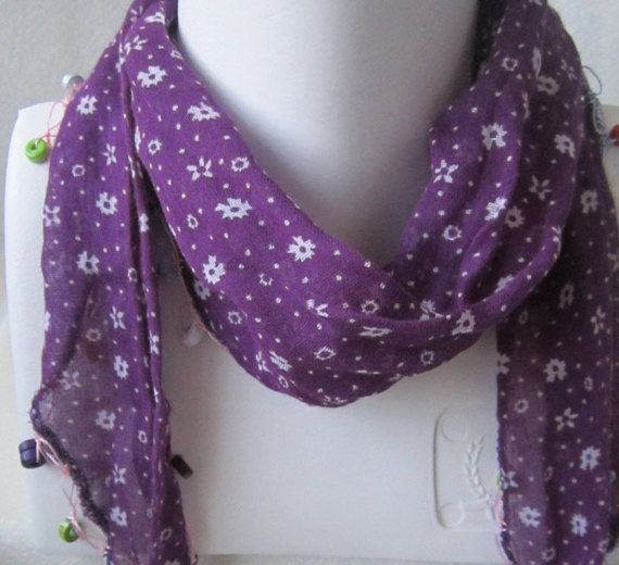 Purple Cotton Scarf  Cotton Necklace chimney caps  belts by selshe