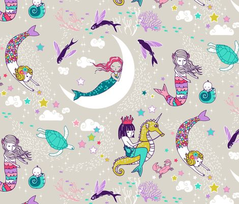 Mermaid Lullaby (Candy) fabric by nouveau_bohemian on Spoonflower - custom fabric