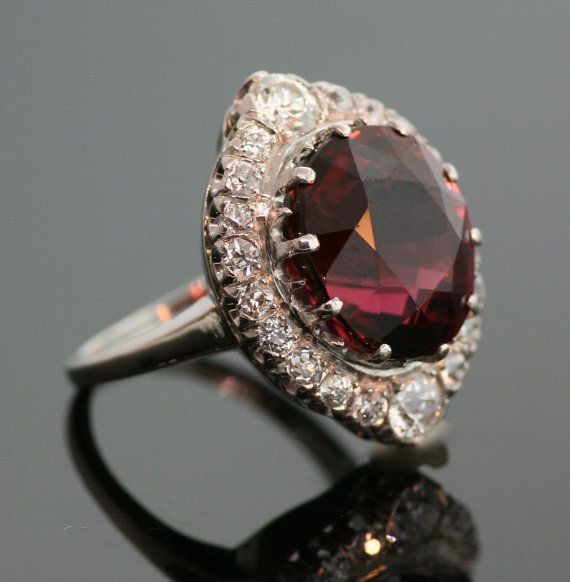 Antique Platinum Cinnamon Red Tourmaline Ring by SITFineJewelry