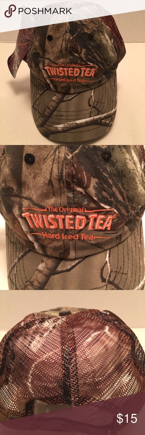 Men's Realtree Mesh Back Camo Twisted Tea Hat Cap Up for sale is the NWT men's Realtree Twisted Tea advertising hat cap that you see pictured. There is a mesh back. There are no rips or tears or stains. Realtree Accessories Hats