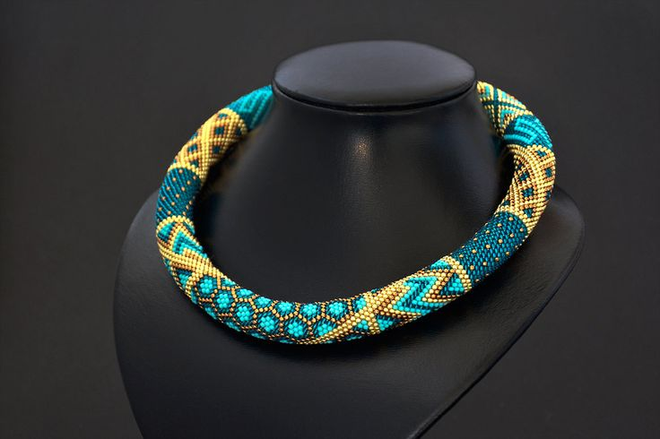 Bead Crochet Necklace Turquoise Blue Brown  Gold Geometric Modern Beadwork Jewelry  - pinned by pin4etsy.com