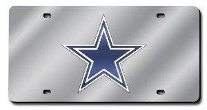 NFL Dallas Cowboys License Plate Cover (Silver) by Rico. $22.99. Laser-cut acrylic auto tag shows off your favorite team. Stays in place of license plate where states allow. Can also hang in back window, decorate rooms, etc. Team name laser-cut into acrylic and hand-assembled. NFL Dallas Cowboys License Plate Cover (Silver)
