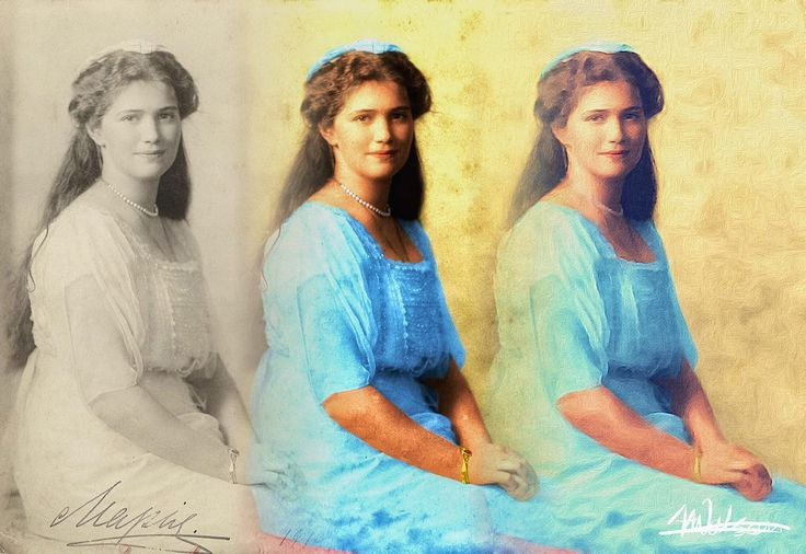 """https://flic.kr/p/BvYG3y   Grand Duchess Maria Nikolaevna of Russia (1899–1918)   I love to find black and white photos, add colour and then use the brushstroke app on my phone to """"paint them"""". After all that I blend then together."""