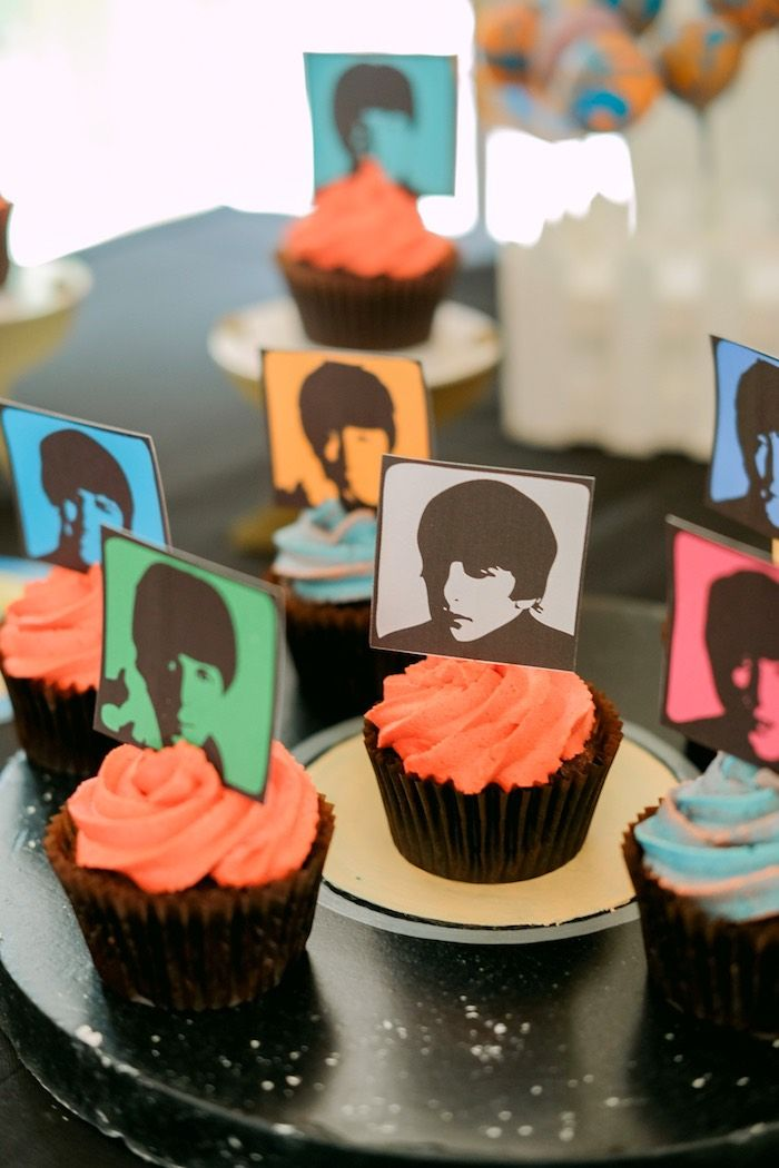 Beatles cupcakes with custom photo toppers from a Beatles Birthday Party on Kara's Party Ideas | KarasPartyIdeas.com (23)