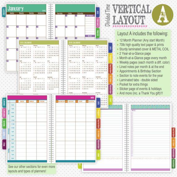 Planner 2017 Custom Planner 2017-2018 Planner Weekly