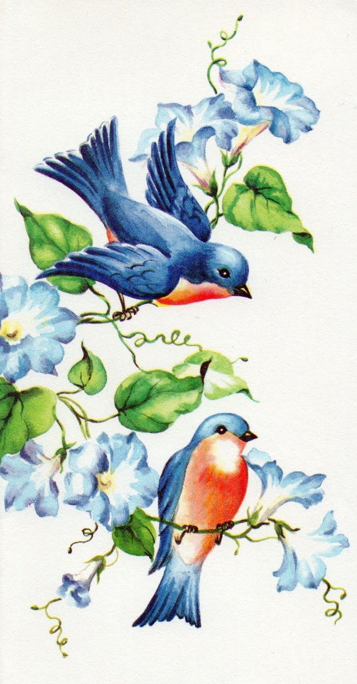 Vintage Bluebirds of Happiness