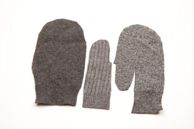 Av tre grå lamullsgensere,  tovet i vaskemaskin,  laget jeg et varmende sett; lue, votter og en veske.