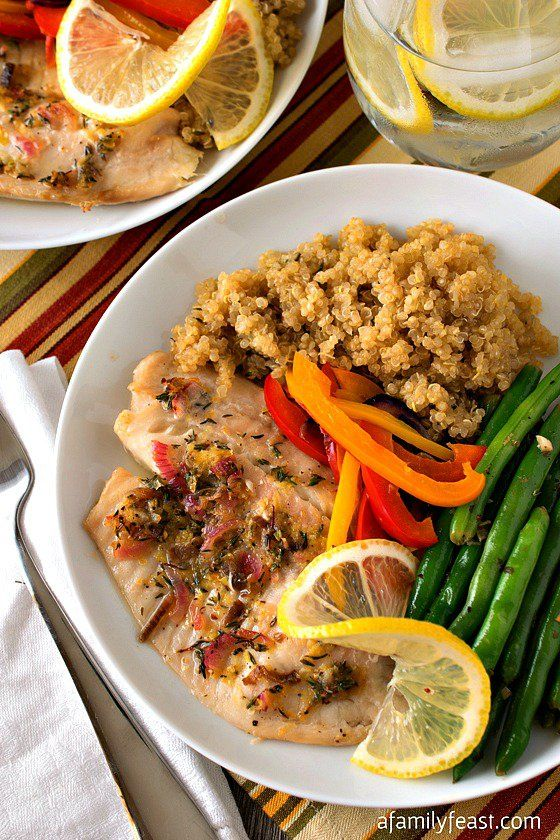 Baked Tilapia with Quinoa and Garlicky Green Beans - A delicious, flavorful meal that is part of the #SimpleStart plan by Weight Watchers!