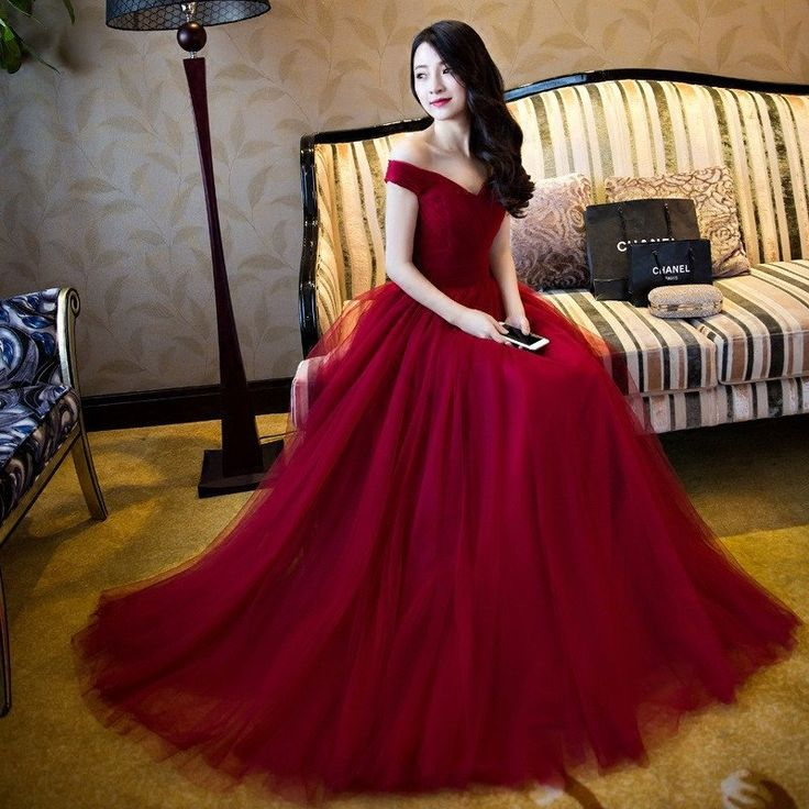 Off Shoulder Red A line Evening Prom Dresses, Long Tulle Party Prom Dr – SposaDesses