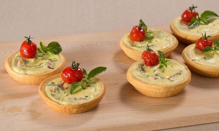 Ricetta Mini quiche alla crema di ricotta e basilico - Paneangeli