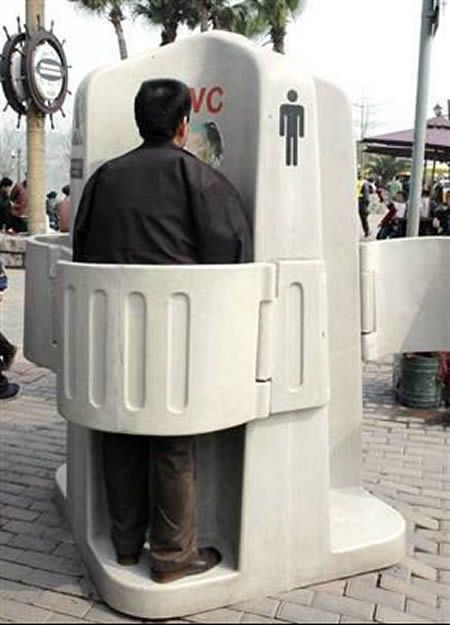 Public Urinal - women can also use this with a special funnel or if they practice aiming with their hands. great for crowded situations.
